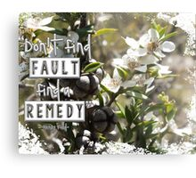 Don't Find Fault - Find a Remedy Quote Metal Print