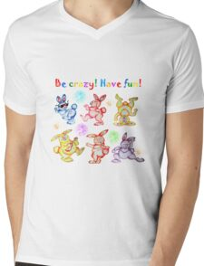 Easter bunny dancing. Be crazy! Have fun! Mens V-Neck T-Shirt