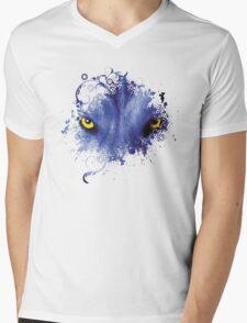 Blue Snow Wolf Mens V-Neck T-Shirt