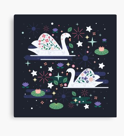 Swans on Stars  Canvas Print