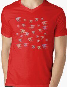 Pastel Birds Oil Painting Flock Traveling Together, Animals Nature Print Mens V-Neck T-Shirt