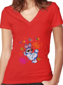 Easter bunny dancing. Be crazy, have fun! Women's Fitted V-Neck T-Shirt