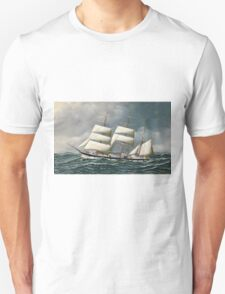 Antonio Jacobsen - The Norwegian Bark Friedig At Sea Under Reduced Sail Unisex T-Shirt