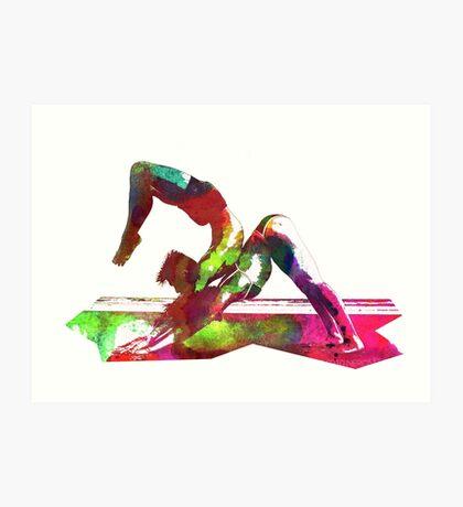 Couple yoga watercolour art Art Print