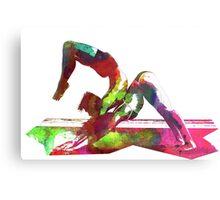 Couple yoga watercolour art Metal Print