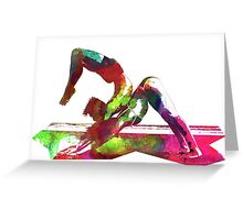 Couple yoga watercolour art Greeting Card