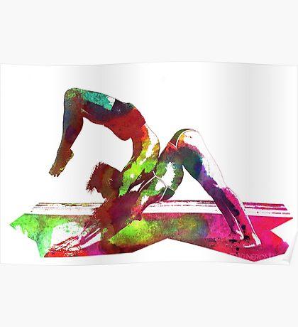 Couple yoga watercolour art Poster