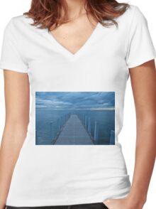 Blue Melbourne Women's Fitted V-Neck T-Shirt