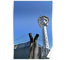 Berlin Wall, Berliner Mauer, Watch tower and barbwire Poster