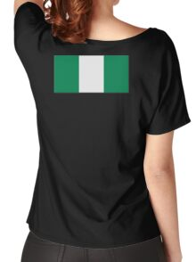 Nigeria, Flag of Nigeria, Nigerian Flag, Flags of Africa, Africa, African, on BLACK Women's Relaxed Fit T-Shirt