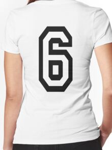 6, TEAM, SPORTS, NUMBER 6, SIX, SIXTH, Competition Women's Fitted V-Neck T-Shirt