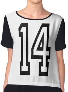 14, TEAM SPORTS, NUMBER 14, FOURTEEN, FOURTEENTH, Competition,  Chiffon Top