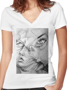 Incantation, 2016, 50-70 cm, graphite crayon on paper Women's Fitted V-Neck T-Shirt