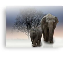 Elephants in the mist Canvas Print