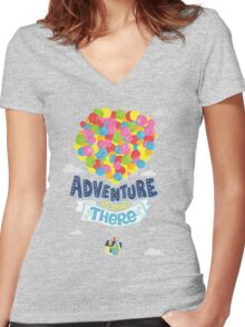 Adventure is out there 3 Women's Fitted V-Neck T-Shirt