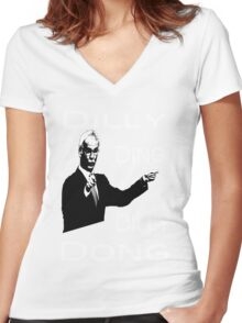The Tinkerman says Dilly Ding Dilly Dong Women's Fitted V-Neck T-Shirt