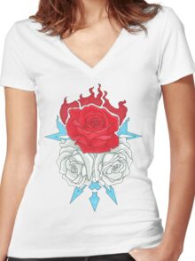 Ice Flowers Women's Fitted V-Neck T-Shirt
