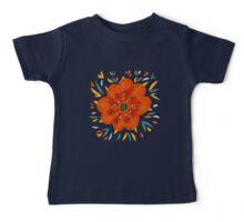 Whimsical Decorative Orange Flower Baby Tee