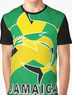 Jamaica Flag Shark Grunge Green Yellow Black Rasta Graphic T-Shirt