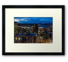 Seattle, Washington skyline at dawn Framed Print