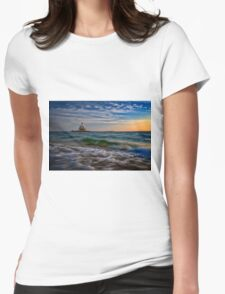 Long Beach Bar Lighthouse Womens Fitted T-Shirt