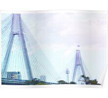 Sydney Anzac Bridge Vaporwave Landscape Poster