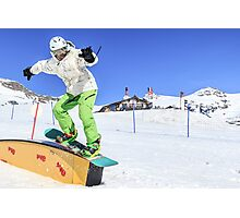 Snowboarding, Photographed in Breuil-Cervinia, Italy Photographic Print