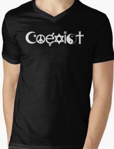 Coexist White Mens V-Neck T-Shirt
