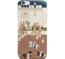 Maharana Sarup Singh of Mewar in a palace courtyard with attendants and horsemen, attributable to the artist Tara, India, Udaipur, circa iPhone Case/Skin