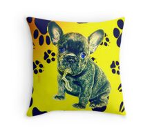 Frenchie Paw Print Throw Pillow