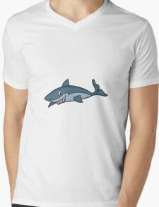 Shark Cartoon Mens V-Neck T-Shirt