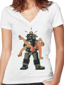 Robot-Romance Women's Fitted V-Neck T-Shirt