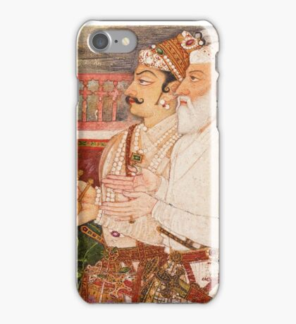 Man Singh with Khan Jahan Koka presenting the keys of Daulatabad fortress to Emperor Aurangzeb (a fragment), attributed to Bhavanidas, Kishangarh, circa iPhone Case/Skin