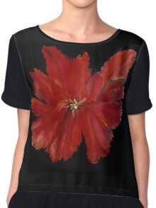 Red Flower Shirt Chiffon Top