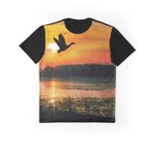 Sunset on the Mississippi River Flyway Graphic T-Shirt