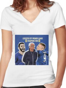 Leicester City - Premier League Champions 2016 Women's Fitted V-Neck T-Shirt