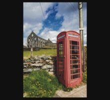 Red Telephone Box and Slate Mill Ruins One Piece - Short Sleeve
