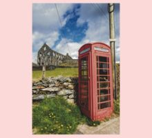Red Telephone Box and Slate Mill Ruins Baby Tee