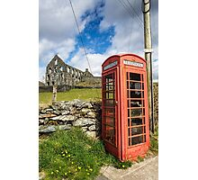 Red Telephone Box and Slate Mill Ruins Photographic Print