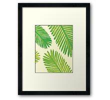 Tropical Leaf Print, Green Leaves Palm Tree Minimal Framed Print