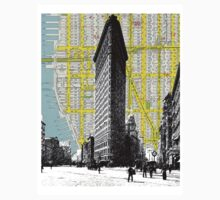 1905 Flatiron Building with Map Behind New York City One Piece - Long Sleeve