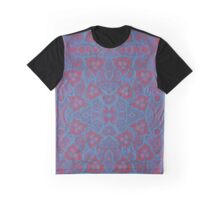 Pink berries, floral arabesque pattern in blue and pink colors Graphic T-Shirt