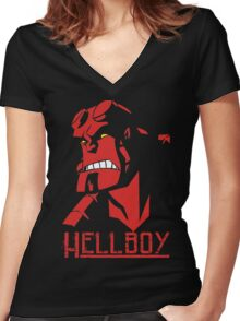 Hellboy Blood and Iron Movie Animation Women's Fitted V-Neck T-Shirt