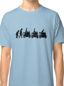 Evolution of man.  Sport bike ergonomics.  Motorcycle. Classic T-Shirt
