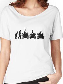 Evolution of man.  Sport bike ergonomics.  Motorcycle. Women's Relaxed Fit T-Shirt