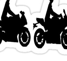 Evolution of man.  Sport bike ergonomics.  Motorcycle. Sticker