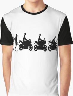 Evolution of man.  Sport bike ergonomics.  Motorcycle. Graphic T-Shirt