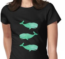 Mint Watercolor Whale Womens Fitted T-Shirt
