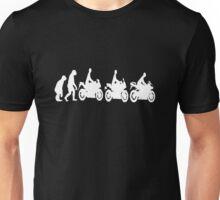 Evolution of man.  Sport bike ergonomics.  Dark Background Unisex T-Shirt