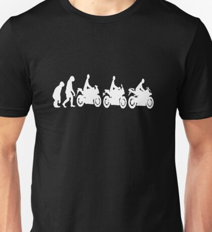 Evolution of man.  Sport bike ergonomics.  Dark Background Unisex T-Shirt